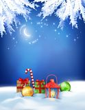 Vector Christmas Winter Night Background Royalty Free Stock Images
