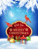 Vector Christmas Winter Night Background Stock Photos