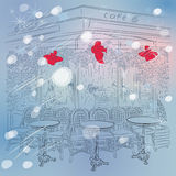 Vector Christmas winter sketch of the Parisian caf Stock Images