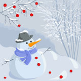 Vector Christmas winter snowman Stock Photos
