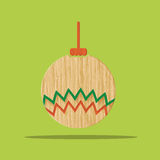 Vector : Christmas wooden icon, Christmas decoration ball on gre Stock Photos