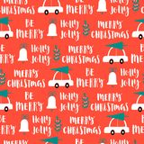 Vector Christmas words seamless pattern on red background. Christmas words seamless pattern on red background Royalty Free Stock Images