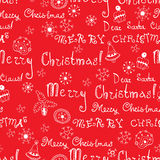 Vector Christmas words in text seamless pattern Stock Image