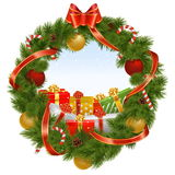Vector Christmas Wreath with Background. Isolated on white background Stock Images