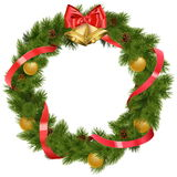 Vector Christmas Wreath with Bells Royalty Free Stock Photography