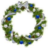 Vector Christmas Wreath with Blue Decorations Royalty Free Stock Image