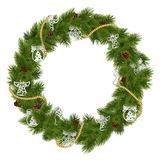 Vector Christmas Wreath with Decorations Stock Images