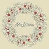 Vector Christmas wreath frame Royalty Free Stock Photos