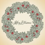 Vector Christmas wreath frame Stock Photos