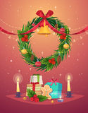 Vector Christmas Wreath with Gifts Royalty Free Stock Image