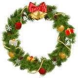 Vector Christmas Wreath with Golden Bells Stock Image
