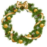 Vector Christmas Wreath with Golden Decorations Royalty Free Stock Photography