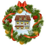 Vector Christmas Wreath with House Royalty Free Stock Image
