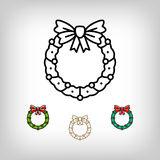 Vector Christmas wreath isolated icon, decoration symbol, line art style Royalty Free Stock Images