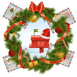 Vector Christmas Wreath with Mailbox Stock Photos