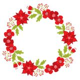 Vector Christmas Wreath with Poinsettia and Red Berries vector illustration