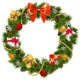 Vector Christmas Wreath with Red Bow Stock Images