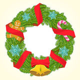 Vector christmas wreath. With red ribbons candle and snowflakes Stock Photography