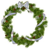 Vector Christmas Wreath with Snowflakes. On white background Royalty Free Stock Photos