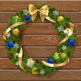 Vector Christmas Wreath on Wooden Board 6 Stock Photos