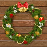 Vector Christmas Wreath on Wooden Board 2 Royalty Free Stock Image