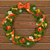 Vector Christmas Wreath on Wooden Board 10 Royalty Free Stock Photography