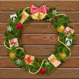 Vector Christmas Wreath on Wooden Board 8 Stock Image