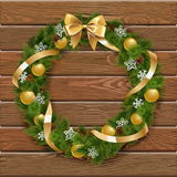 Vector Christmas Wreath on Wooden Board 1 Royalty Free Stock Photo