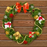 Vector Christmas Wreath on Wooden Board 5 Royalty Free Stock Photography