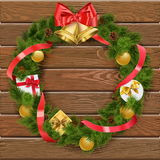 Vector Christmas Wreath on Wooden Board 4 Royalty Free Stock Images