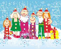 Vector christmass people. In snowy winter Stock Photos