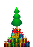 Vector Chritmas tree with gifts Royalty Free Stock Image