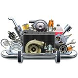 Vector Chrome Bumper with Car Spares. Isolated on white background vector illustration