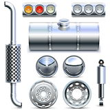 Vector Chromed Truck Parts Set 1 Stock Images
