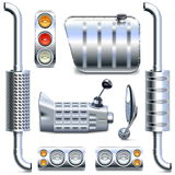 Vector Chromed Truck Parts Set 2 Stock Images