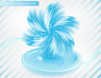 Vector chrysanthemum blue flower  card. abstract Stock Photo
