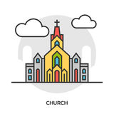 Vector church icon. Chapel building concept Stock Photos