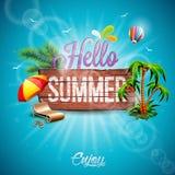 Vector ciao l'illustrazione tipografica di vacanza estiva con le piante tropicali illustrazione di stock