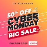 Vector cibernético de la bandera de lunes el 50% de plantilla en línea del fondo de la promoción de la tienda de la venta grande Foto de archivo