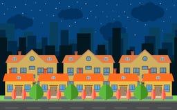 Vector a cidade da noite com casas e construções dos desenhos animados Espaço da cidade com a estrada no conceito liso do fundo d Imagens de Stock