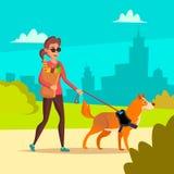 Vector ciego de la mujer Compañero joven de Person With Pet Dog Helping Concepto de la socialización de la incapacidad Femenino c Fotos de archivo libres de regalías