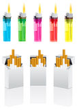 Vector cigarettes and cigarette lighter Royalty Free Stock Images