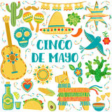 Vector Cinco de Mayo background. Mexican symbols greeting card. Banner Royalty Free Stock Photo