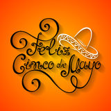Vector Cinco de Mayo Inscription with Sombrero Royalty Free Stock Photography