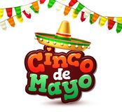 Vector cinco de mayo mexican party poster banner. 3d cinco de mayo party poster template. Festival traditional mexican holiday celebration design with realistic Royalty Free Stock Image