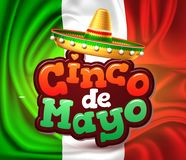 Vector cinco de mayo mexican party poster banner. 3d cinco de mayo party poster template. Festival traditional mexican holiday celebration design with realistic Stock Photography