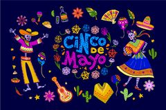 Vector cinco de mayo set of mexico traditional elements, symbols & skeleton characters in flat hand drawn style on dark b royalty free illustration
