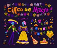 Vector cinco de mayo set of mexico traditional elements, symbols & skeleton characters in flat hand drawn style isolated on dark b. Ackground. Mexican