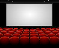 Vector cinema auditorium with blank screen Royalty Free Stock Photos