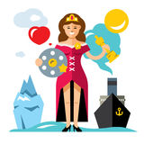 Vector Cinema Award. Best Actress. Flat style colorful Cartoon illustration. Woman in dress with a Movie Film Reel and a gold statuette. Ship, iceberg. Isolated Stock Images